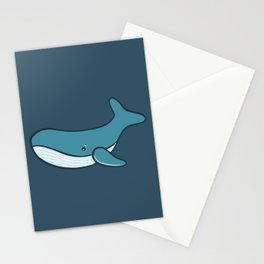 Cute whale in blue background Stationery Cards