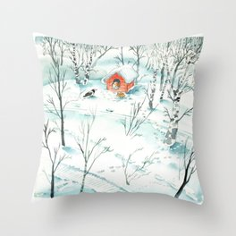 The Magpie and the Dog Throw Pillow