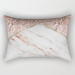 Shimmering rose gold with rose gold marble Rectangular Pillow