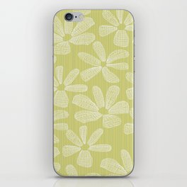 Katalin, lacy daisy in light kaki iPhone Skin