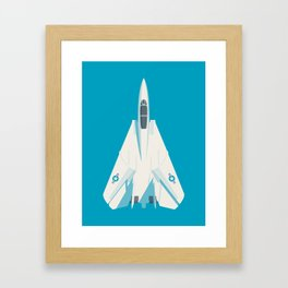 F14 Tomcat Fighter Jet Aircraft - Cyan Framed Art Print