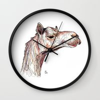 camel Wall Clocks featuring Camel by Ursula Rodgers