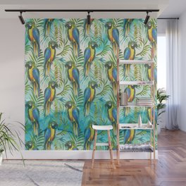 Watercolor blue yellow tropical parrot bird floral Wall Mural