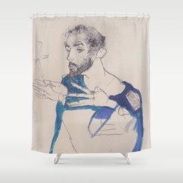 Egon Schiele Gustav Klimt Im Blauen Malerkittel Shower Curtain