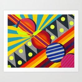 Cicles & Stripes Art Print