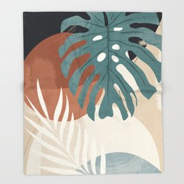 Abstract Art Tropical Leaves  Throw Blanket