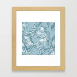 Island Dream Teal Palm Leaves Framed Art Print