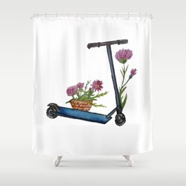 Push Scooter & Flowers Shower Curtain