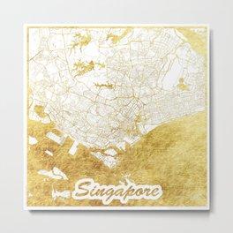 Singapore Map Gold Metal Print