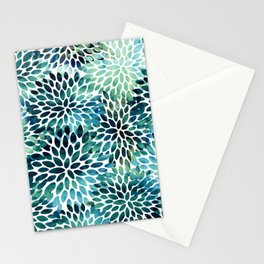 Floral Watercolor, Navy, Blue Teal, Abstract Watercolor Stationery Cards