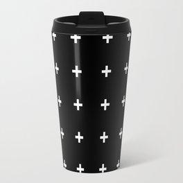 White Plus on Black /// www.pencilmeinstationery.com Travel Mug