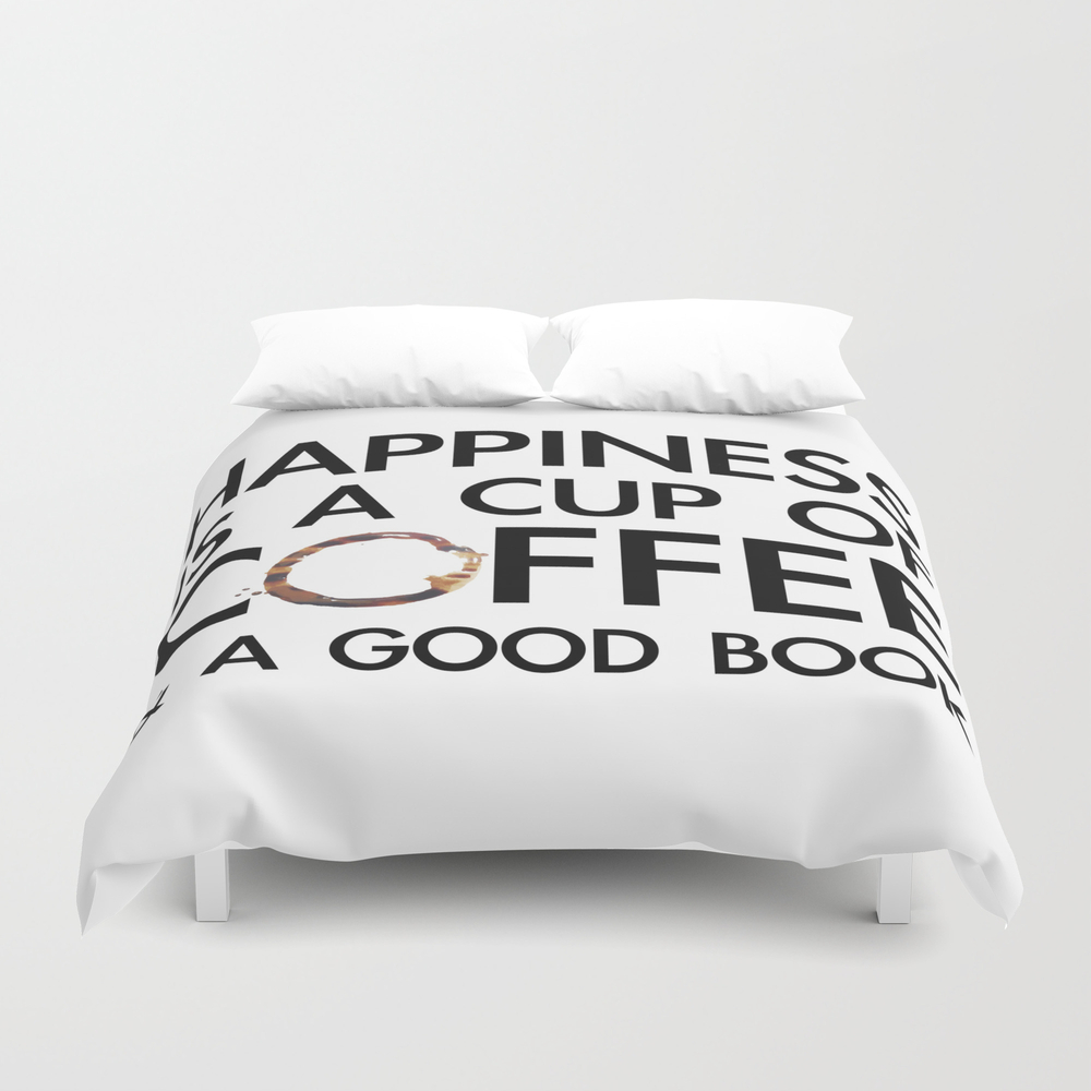 Happiness Is A Cup Of Coffee & A Good Book Duvet Cover by Catmustache DUV8459679