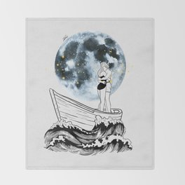 Night above the moon. Throw Blanket