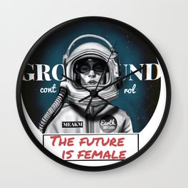 The Future is female space astronaut girl Wall Clock