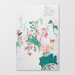 Abstract Jungle Floral on Pink and White Canvas Print