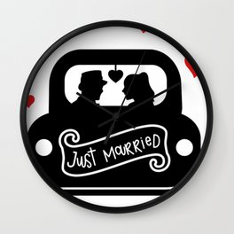 Just Married Bride and Groom Wedding Day Wedding Gift Wall Clock