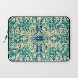 Vintage Blue Turquoise Floral Damask Pattern Laptop Sleeve