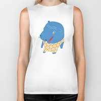 hippo Biker Tanks featuring Hippo by Jennifer Nystedt