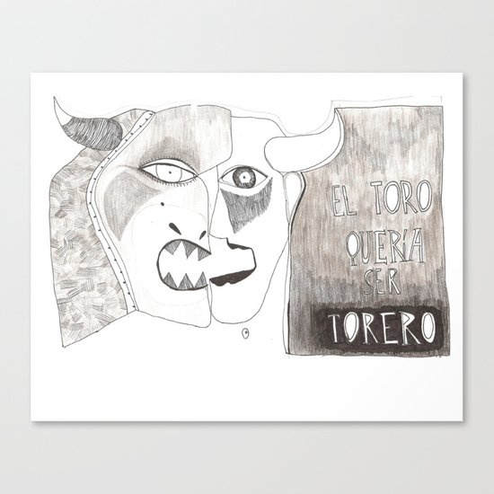 El toro que quería ser torero Canvas Print