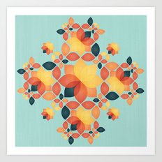 Orange Garden Pattern Art Print