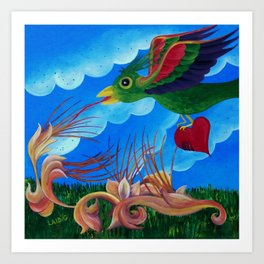 Flight of the wounded heart Art Print