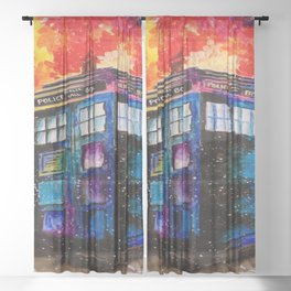 Doctor Who Tardis Painting Sheer Curtain