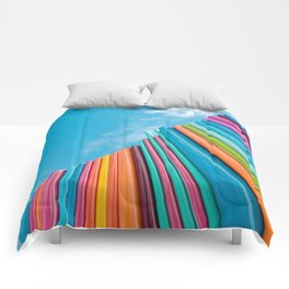 Colorful Rainbow Pipes Against Blue Sky Comforters