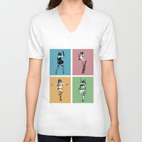 burlesque V-neck T-shirts featuring Burlesque Wars by V-GRAFIX