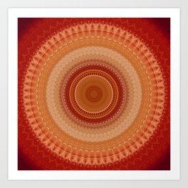 Vintage Orange Mandala Art Print