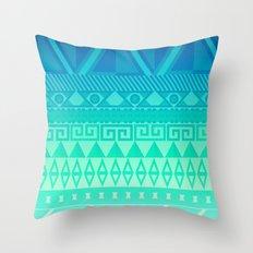 Blue Mayan Throw Pillow