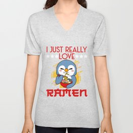 Penguin I Just Really Love Ramen Egg Soup Bowl Crab Noodle Unisex V-Neck