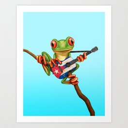 Tree Frog Playing Acoustic Guitar with Flag of Cuba Art Print