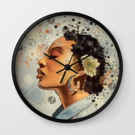 Watercolor whimsical digital portrait painting Wall Clock