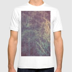 Green Forest - Snow and Rain on Fir Tree Branches Mens Fitted Tee MEDIUM White