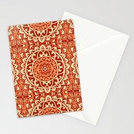 Southwestern Sun Mandala Batik, Coral Orange Stationery Cards