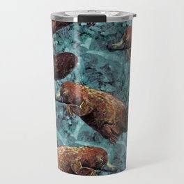 platypus teal pattern Travel Mug