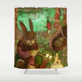 gay rabbits camping Shower Curtain