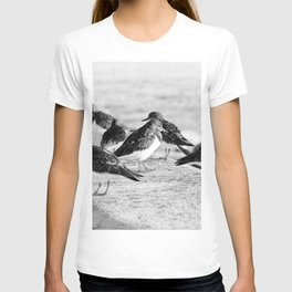 Birds and People relaxing at the beach T-shirt