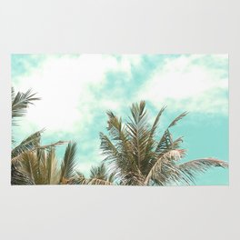 Wild and Free Vintage Palm Trees - Kaki and Turquoise Rug
