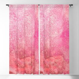 Modern hand painted pink orange coral watercolor brushstrokes Blackout Curtain