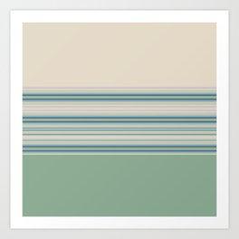Mint Green Cream Stripes Art Print