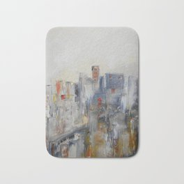 ABSTRACT CITYSCAPE MODERN PAINTING Bath Mat