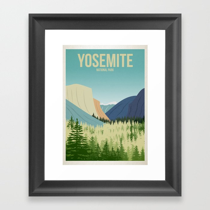 Yosemite National Park - Travel Poster -  Minimalist Art Print Gerahmter Kunstdruck
