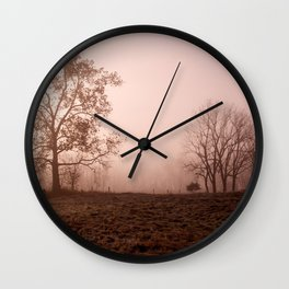 Morning Mist with Trees in a Field Wall Clock