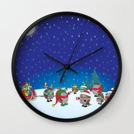 Hedgehog's Christmas magic Wall Clock
