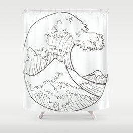 The wave of Kanagawa Shower Curtain