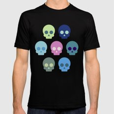 Colorful Skull Cute Pattern Black MEDIUM Mens Fitted Tee