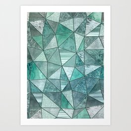 Mint Green Glamour Marble Shiny Stained Glass Design Art Print