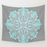 bedding Wall Tapestries featuring Teal and Aqua Lace Mandala on Grey by micklyn