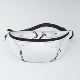 Dancing Japanese Red-crowned crane Fanny Pack